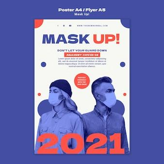 Maskieren sie die vertikale postervorlage 2021