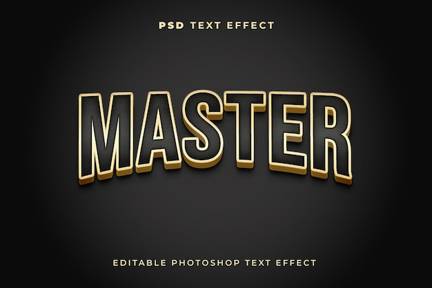 Master-3d-texteffektvorlage mit goldfarbe