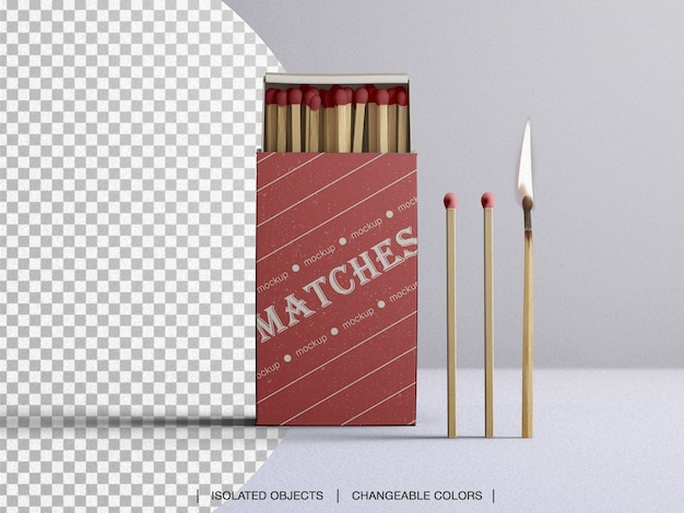 Matches box mockup mit brennendem match isoliert
