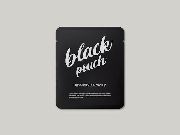Matte black sachet packaging mockup