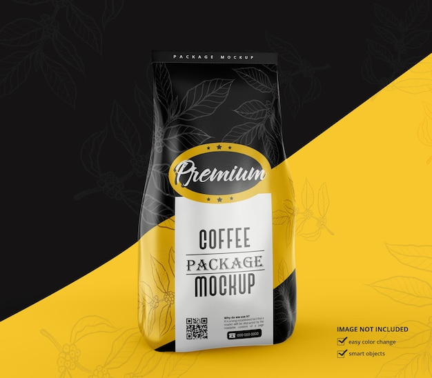 Matte coffee bag mockup design rendering