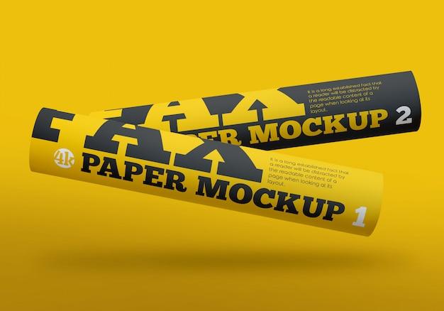 Matte fax paper rolls mockup