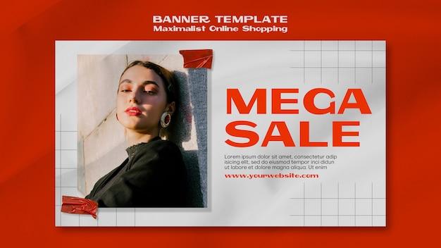 Maximalistische online-shopping-banner-vorlage mit foto