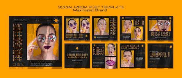 Maximalistischer markentrendsetter social-media-beitrag