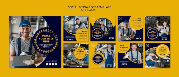 Mechanic business social media post-vorlage