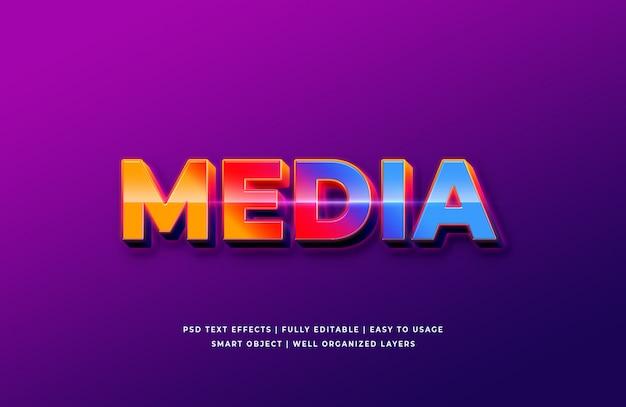Media 3d text style effekt premium psd