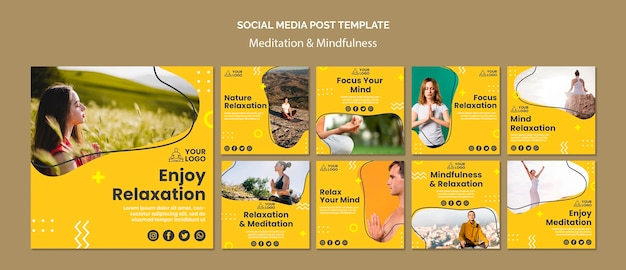 Meditation & achtsamkeit social media post vorlage