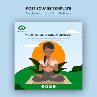 Meditation und achtsamkeit nach quadratischer vorlage