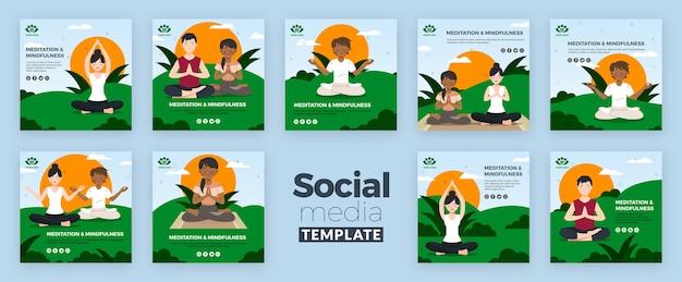 Meditation und achtsamkeit social media post