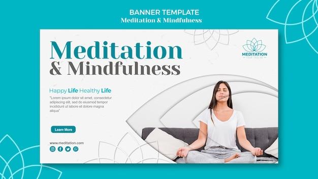 Meditationsbanner-schablonendesign
