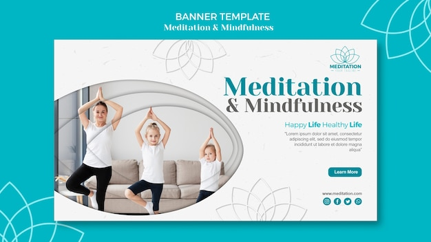 Meditationsbanner-schablonenstil