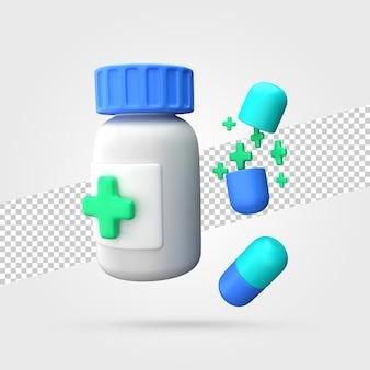Medizinglas mit pillen 3d render