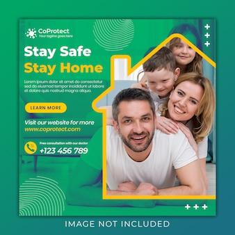 Medizinische gesundheit banner über coronavirus, social media instagram post banner vorlage