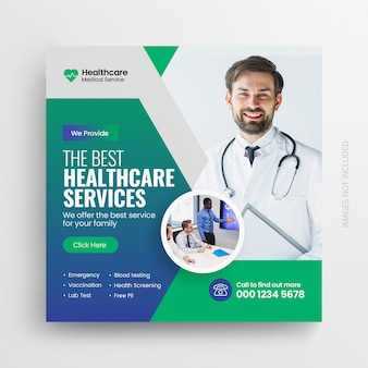 Medizinische gesundheitsflyer-social-media-post-web-promotion-banner-vorlage