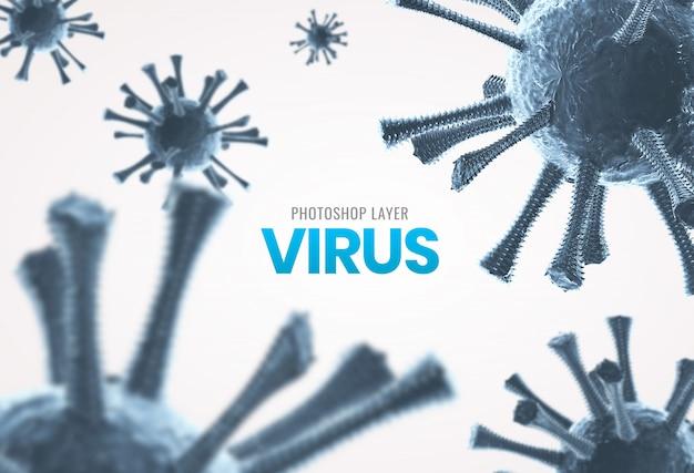 Medizinische mikroskopische viruszellen schließen hintergrund