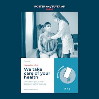 Medizinische online-klinik flyer vorlage