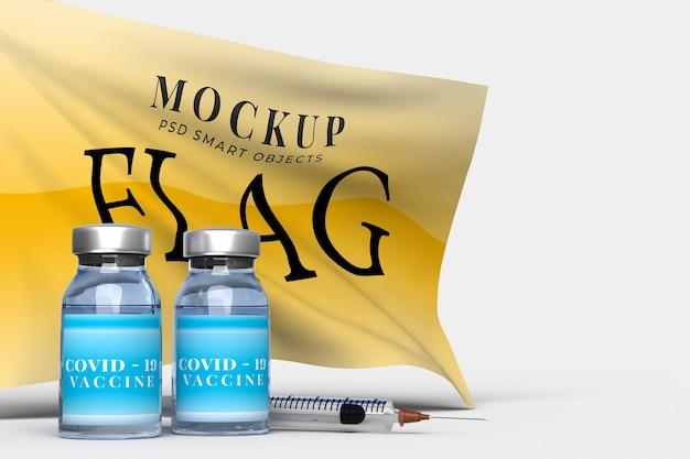 Medizinische werkzeuge und covid-19-impfstoffe mit flags-mockup-vorlage für krankenhaus, klinik, medizinisches geschäftskonzept. 3d-rendering