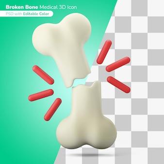 Medizinischer gebrochener knochen 3d-darstellung 3d-symbol bearbeitbare farbe isoliert