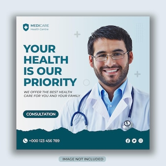 Medizinisches gesundheitswesen flyer social media square post web promotion banner vorlage