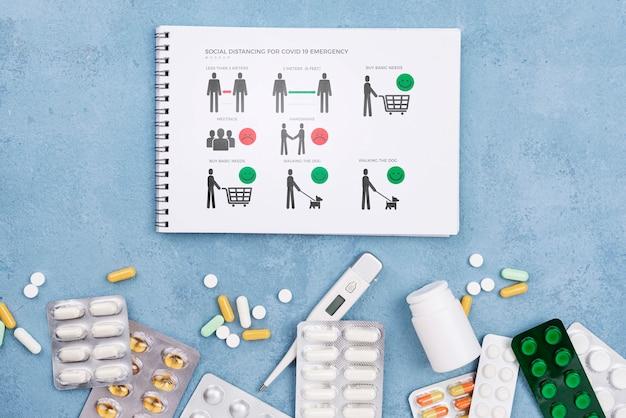 Medizinsammlung und notizbuch