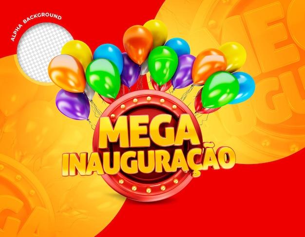 Mega-eröffnungsbanner in brasilien 3d-render-promotion-vorlage