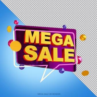 Mega sale 50 prozent rabatt auf 3d-rendering Premium PSD