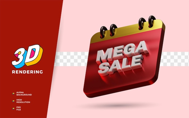Mega sale shopping day discount festival 3d-render-objekt-illustration