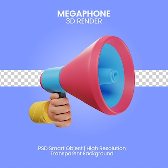 Megaphon-symbol 3d render isoliert