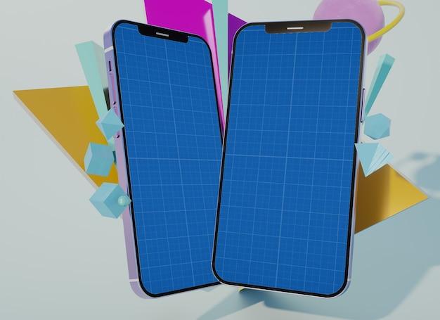 Mehrfacher kreativer mockup des handybildschirms