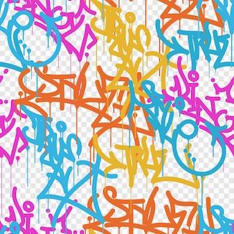 Mehrfarbiger graffiti-hintergrund mit leuchtend farbigen beschriftungs-tags der buchstaben