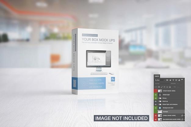 Mehrzweck-produktbox auf einem bühnenmodell