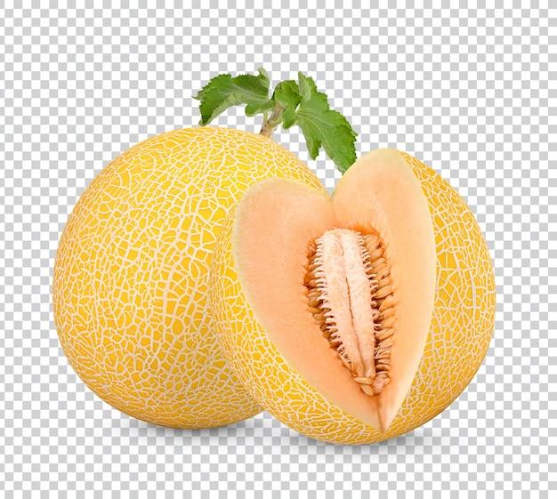 Melone mit blättern isoliert
