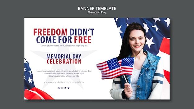 Memorial day konzept banner vorlage