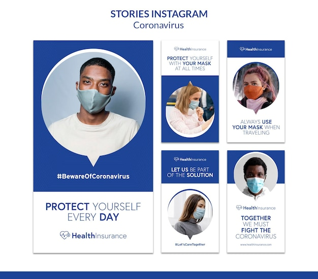 Menschen mit masken instagram-geschichten