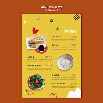 Menüvorlage des lebensmittelrestaurants