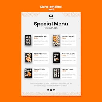 Menüvorlage des sushi-restaurants Kostenlosen PSD