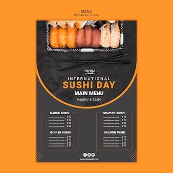 Menüvorlage für internationalen sushi-tag