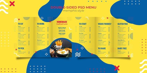 Menüvorlage für restaurant im memphis-stil