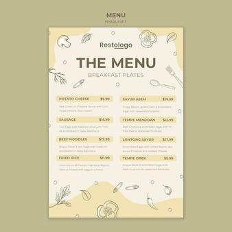 Menüvorlage für restaurant