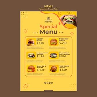Menüvorlage mit amerikanischem essen