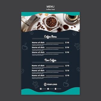 Menüvorlage mit kaffeekonzept