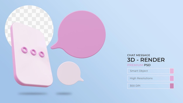 Messaging-konzept mit bearbeitbarem text-3d-rendering