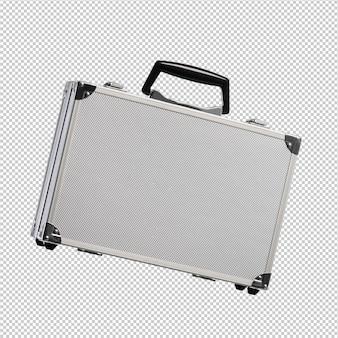 Metallaktenkoffer über weißem hintergrund