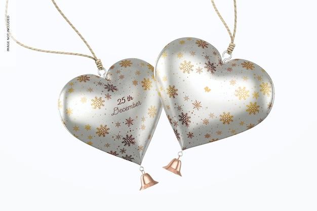 Metallic hearts christmas ornament mockup