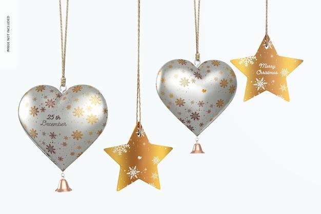 Metallic hearts christmas ornament und stars mockup