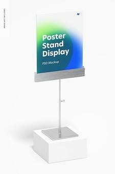 Metallic poster stand display mockup, perspektive