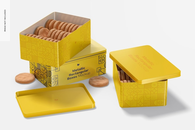 Metallic rectangular boxes mockup