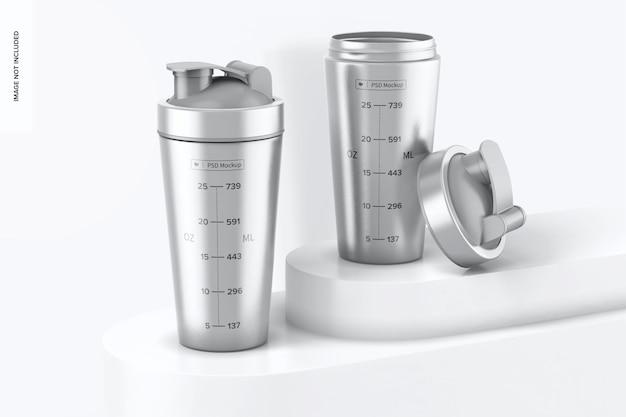 Metallic shaker bottle mockup, geschlossen und geöffnet