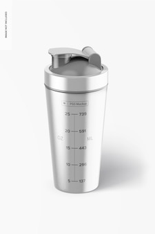 Metallic shaker bottle mockup, vorderansicht