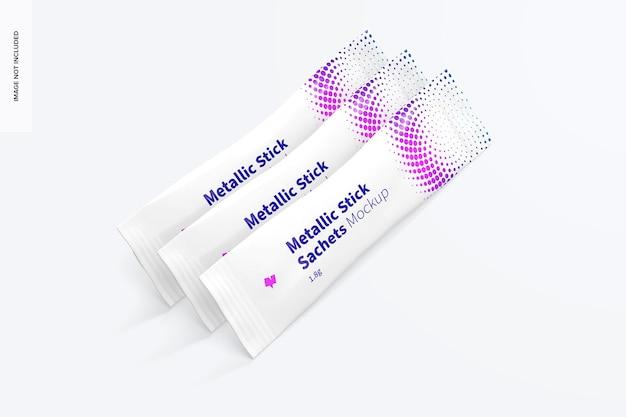 Metallic stick sachets set mockup